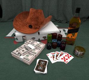 3D model poker dollar chip liquor