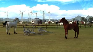 grasslands horses yurts tribes 3D model