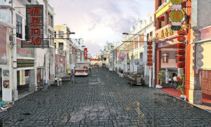 3D modern ancient town style model