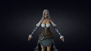 3D warrior girl character model