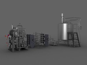 3D boiler distillation valve water pump