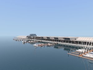 yacht dock sea boat 3D model
