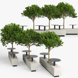 tree bench 3D model