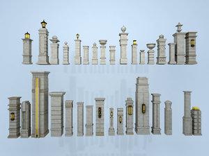 3D roman column european medieval building