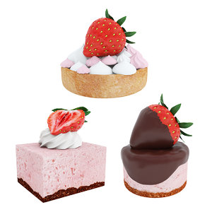 3D strawberry dessert cake