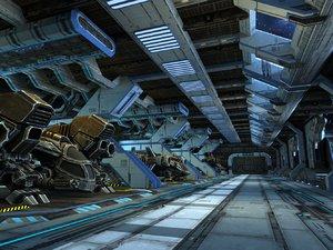 3D model science fiction scenes capsules