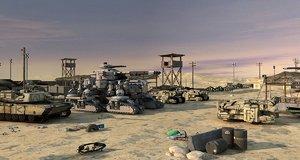 3D model military bases tucker armored