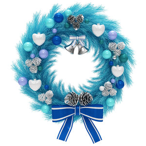 blue christmas wreath 3D