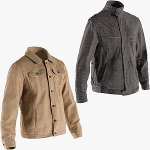 realistic jackets 5 collections 3D model