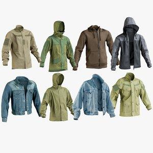 realistic jackets 9 hoodie 3D model