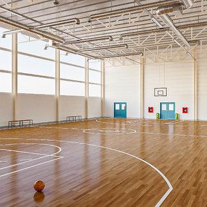 basketball court locker room 3D