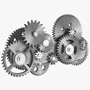 gear mechanism silver metal 3D