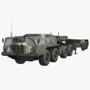 maz 74106 trailer camouflage 3D model