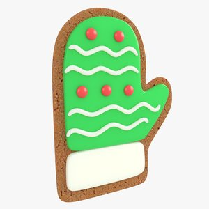 3D gingerbread glove christmas cookie