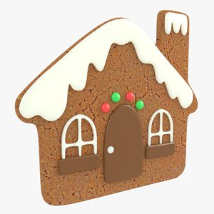 3D gingerbread house christmas cookie model