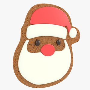 3D gingerbread santa head christmas