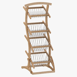 wooden merchandise shelf 01 3D model