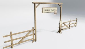 wildwest style fence 3D model