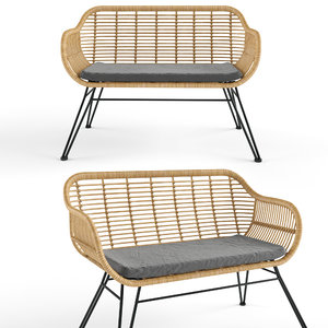 costa bench rattan model