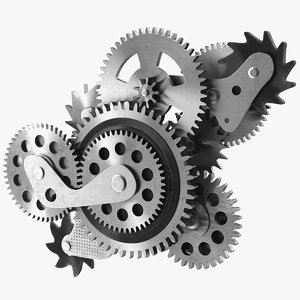 3D cog gears silver