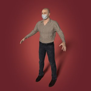 casual man face mask 3D