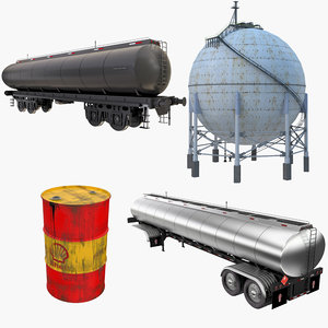 3D model oil storage tanks railroad