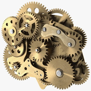 cog gears mechanism brass 3D model