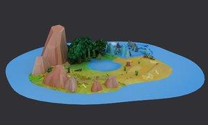 3D islands cartoon shipyards mountains