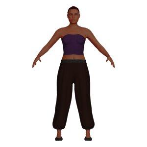 3D adult woman harem pants model