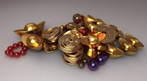 treasure pearls sapphires cartoon 3D model