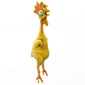 chicken cartoon rigged model