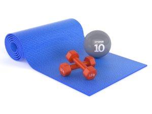 yoga mat dumbbells 3D model