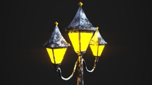 3D snowy victorian street lamp