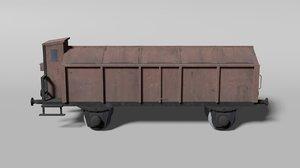 old german lidded railcar 3D model