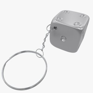 metal dice key chain 3D