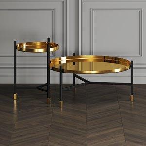 gold nesting tables 3D model