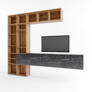 tv unit showcase 3D model