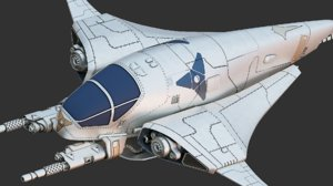 3D model manta fighter spacecraft