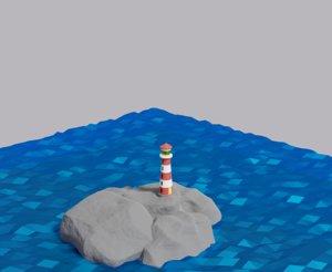 3D lighthouse light building water house model