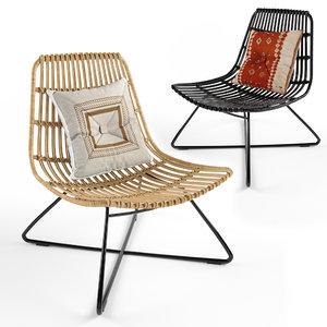 costa armchair rattan 3D model