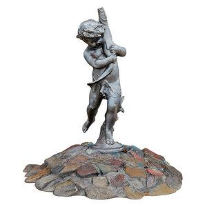 3D sculpture fountain boy holding
