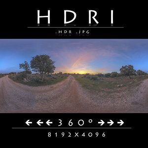 HDRI DIRT ROAD SUNSET