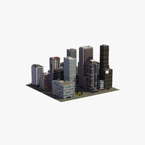 3D city block skyscraper