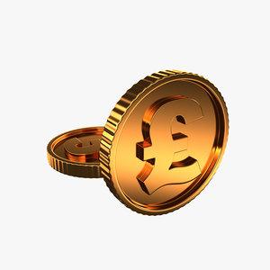 golden coin pound 3D model