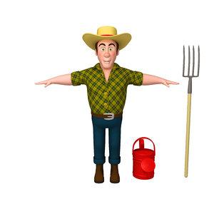 3D model farmer 03 cartoon