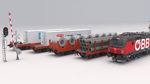 3D cargo train obb car