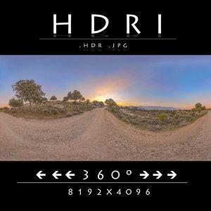 HDR RURAL DIRT ROAD AT SUNSET