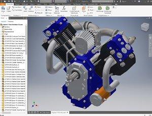 engine v 3D model