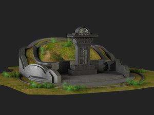 mausoleum stone inscription tomb 3D