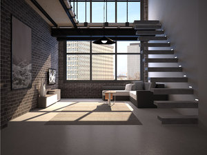 realistic interior loft apartment 3D model